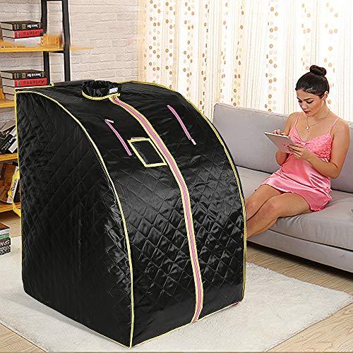 1000W, Sauna infrarroja Portable, Sauna Terapéutica Personal Infrarroja, 4 placas calefactoras infrarrojas + 36 piedras de turmalina (Negro)