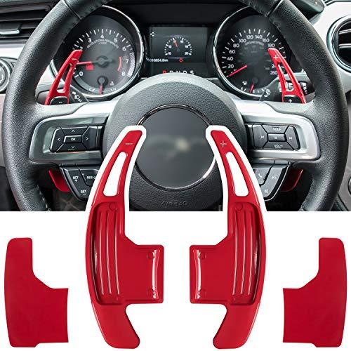 Cubierta de palanca de cambios extendida para volante para Ford Mustang 2015 2016 2017 2018 2019 2020 2021, accesorios de decoración de interiores, aleación de aluminio (rojo, 2 piezas)