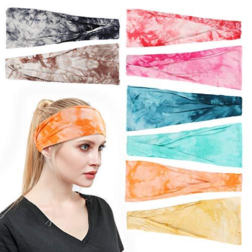 Tyfthui 8 Pack Headbands for Women, Yoga Running Sport Workout Headbands Elastic Non Slip Sweat Headbands Head Wrap Hair Wrap for Women (Color B)