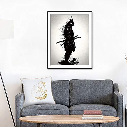 jzxjzx Japanische Samurai schwarz und weiß dekorative malerei Wohnzimmer Home Hintergrund Wand Poster rahmenlose malerei Kern malerei 1 60 * 80 cm