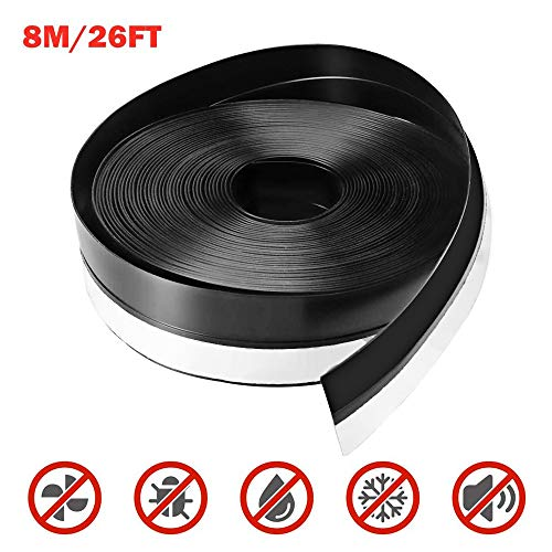 45mm, Translucent Weather Stripping Aheadife Door Seal Strip Self Adhesive Silicone Draft Bottom Gap Replacement Strip Roll Soundproof for Door Window 16.5Ft//26.3Ft