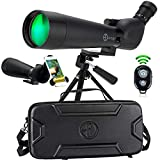 Gravitude 20-60x80mm HD Spotting Scope with Tripod and Carry Case – BAK 4 Prism Spotting Scopes for Target Shooting Hunting Bird Watching Astronomy – Waterproof Fog Proof - Phone Adapter and Clicker