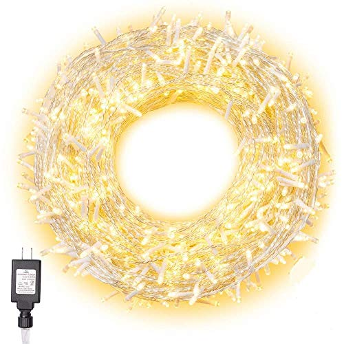 Curtain Fairy Lights Warm White 100LED/10M Lights Plug in Garden Lights Mains Powered Outside Lights Waterproof for Indoor Christmas Tree Holiday-200 LED/20M