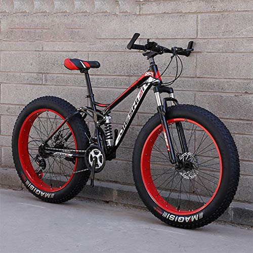 RNNTK Double Shock Absorption Fat Bike Mountain Bike, Big Tires Adult Outroad Mountain Bike Super Thick.Snowmobile,Bike A Variety of Colors Male and Female Students G -7 Speed -26 Inches