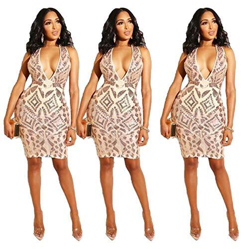 ZYKJ ZYKJLadies'dresses Princesa, Colgar Faldas, Faldas, Vestidos de Noche, Vestidos de Mujer, Profundo Escote en V Sexy Media Falda,Golden,M