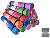 AweXs - Yoga Mats In Bulk For Kids PE Gymnastics Adults Non Slip - Exercise Stretching Fitness 12 Pack Piece Set + Multi Use Purpose - Workout Home Gym Carrying Strap Inexpensive Wholesale Bundles In Red Blue Green Purple Pink Orange