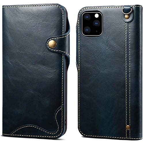 AIFENGCASE Phone Case Compatible with iPhone 12 Pro Max,Genuine Leather Phone Case,Wristlet Genuine Leather Wallet Case Card Holder Slot Flip Case Cover Compatible with iPhone 12 Max,Blue