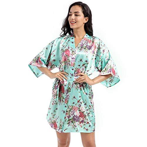 ASADVE Novia Dama de Honor Vestido de Novia Gris Damas Kimono Yukata Pijamas Casuales Grandes Pijamas de Flores-Verde Claro 2_XXXL