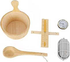 Accessoires de salle de seau en bois naturel Louche Lampe Degree Hourglass Set pour Sauna Spa Salle de bain Jardinage Acce...