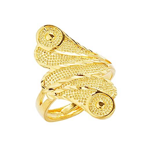 Regalos de Navidad 24k color oro tamaño ajustable anillos de mujer anillos femeninos estilo simple puro 24K color oro aneis joyería de moda fina