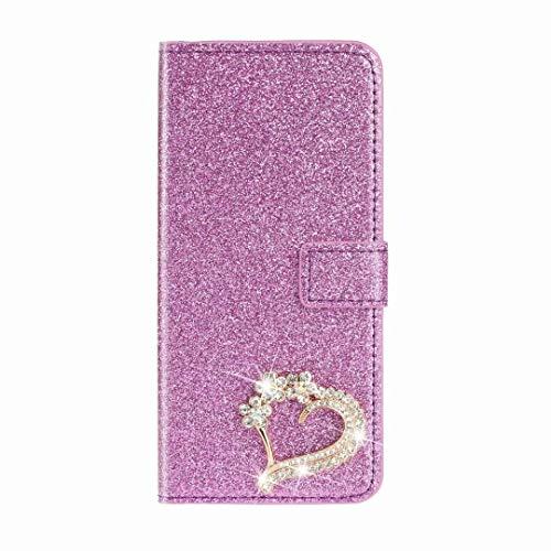 Funda para Huawei Y5p, hecha a mano, con purpurina magnética, a prueba de golpes, de piel sintética, con tapa, tarjetero, función atril, ranuras para tarjetas y función atril para Huawei Y5p