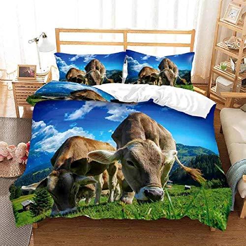 Bdhnmx 3-teiliges Bettwäsche-Set mit 2 Kissenbezügen, 3D-Druck, Tiermotiv, Prärie-Kuh, mit Reißverschluss, antiallergisch, Einzelbett-Größe 140 x 200 cm