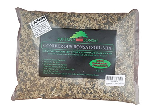Conifer Bonsai Soil Mix - Professional Sifted and Ready to Use Tree Potting Blend in Easy Zip Bag - Kiryu, Akadama, Black Lava, Pumice & Charcoal (6 Dry Quart)