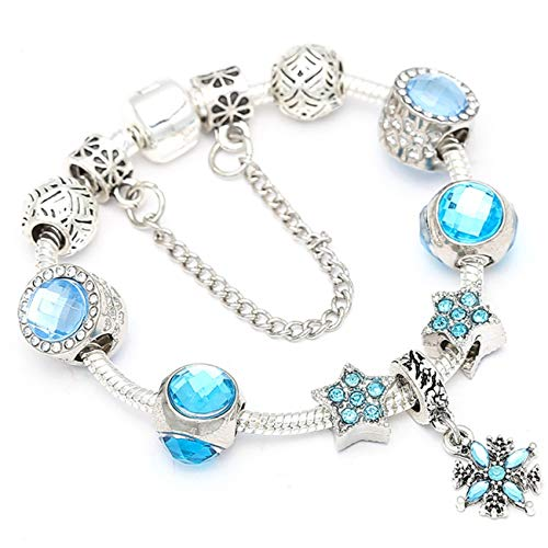 Baostic Pulseras European Style Vintage Silver Plated Crystal Charm Bracelet Women Fit Original DIY Fine Bracelet Jewelry Gift BE023 21cm