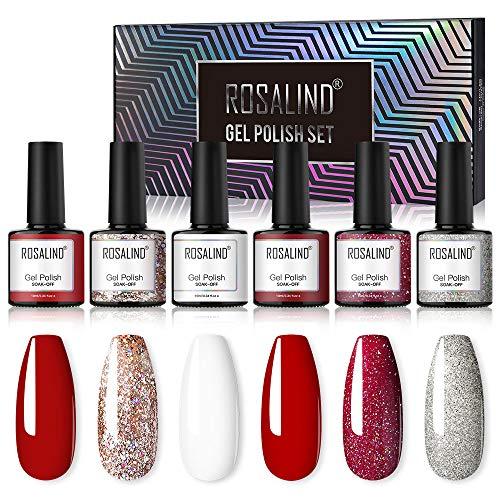 ROSALIND UV Get Nagellack Rot 10 ml mit 6 Farben Grau und Rot Kit UV Gel Nagellack Set Geschenkset