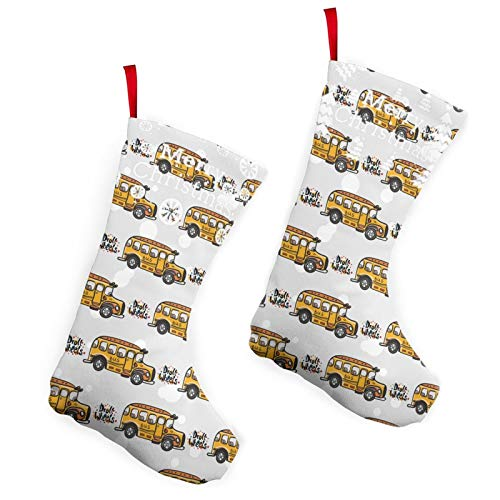 Nsafinhwv Christmas Stocking(Set of 2) Hanging Ornament Xmas Party Decorations - 10' Cartoon Bus Stocking for Home Decor