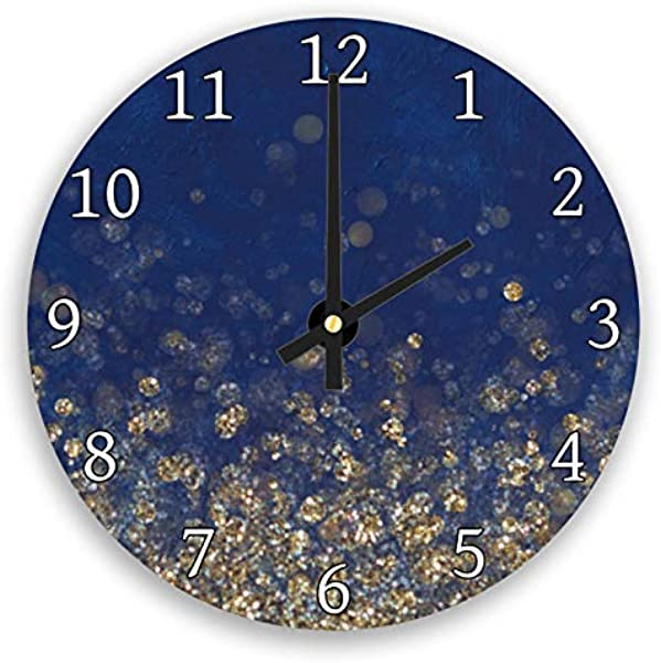 Hiusan Blue Navy Yellow Gold Cool Modern Wood Wall Clocks Decorative Silent 12 In For Living Room Home Decor Wall Art