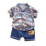 Conjunto de ropa para bebé y niño, ropa de verano, ropa de dibujos animados, camisa + pantalones vaqueros cortos, traje de Hawaii, camisa pajarita, pantalones cortos, traje corto para bebé. gris L
