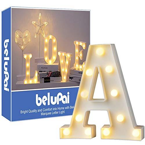 Luci LED decorative a forma di lettere dell'alfabeto, colore bianco, alimentate a batteria, per decorazione di casa, matrimoni, feste, reception, bar (lettera A)
