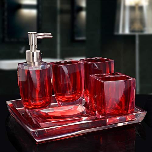 MLWTB Juego de 6 accesorios de baño de cristal transparente con bandeja,...