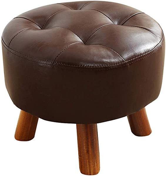 Round Solid Wood Footstool PU Leather Upholstered Pouffe Stool Dressing Stool Sofa Change Shoes Bench With Wooden 4Legs Brown