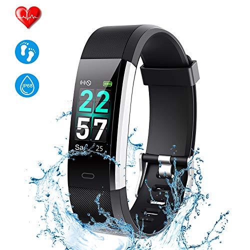 ONSON Fitness Armband, Fitness Tracker IP68 Smart Watch Pulsuhren Fitness Uhr Schrittzähler Uhr für Damen Sportuhr mit 14 Trainingsmodi Vibrationsalarm Anruf SMS Beachten(Schwarz)