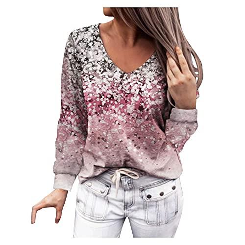Pistaz Blusa de manga larga para mujer, con estampado de flores, degradado, cuello en V, estilo étnico, multicolor, color rosa y verde, Rosa., 48