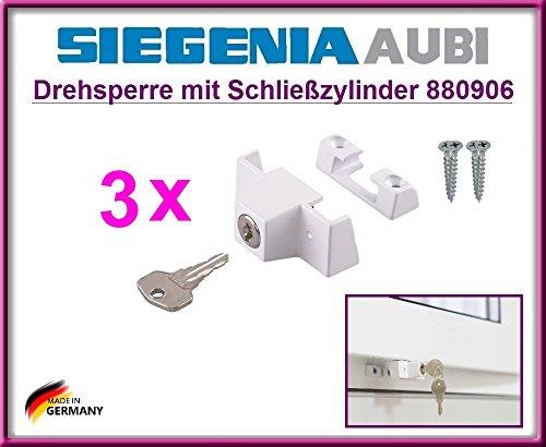 3 X SIEGENIA 880906 Sicherheitsfenster Schlösser / Riegelschlüssel!!! 3 Stück Top Qualität Sicherheitsschlösser zum Schutz der Kinder zum Öffnen des Fensters!!! Mit 4 Schrauben!!!