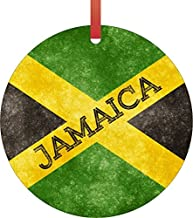 Rosie Parker Inc. Jamaica Grunge Flag-Double-Sided Round Shaped Flat Aluminum Christmas Holiday Hanging Tree Ornament with a Red Satin Ribbon. Made in The USA!