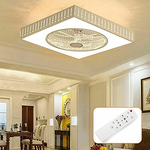 Fetcoi Ventilador de techo cuadrado de 40 W, ventilador de 3 colores, con mando a distancia, 110 – 220 V, lámpara de techo LED, diseño de gotas de agua, larga vida útil A++
