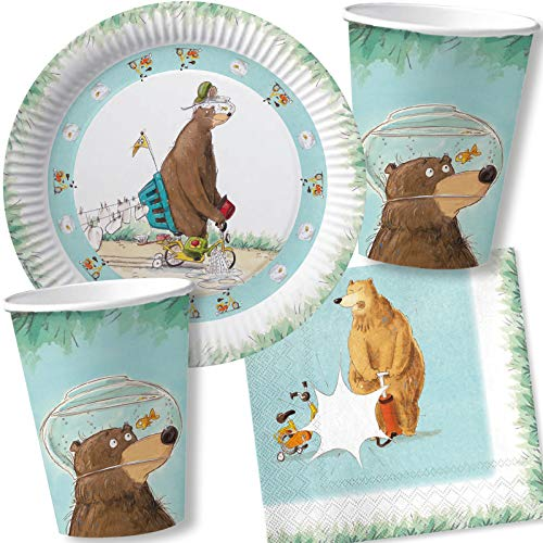 DH-Konzept/Carpeta 37-TLG. Party-Set * DR. BRUMM * mit Teller, Becher, Servietten und Deko für Kindergeburtstag und Mottoparty | Kinder lieben diesen Bär zum Geburtstag und Motto-Party