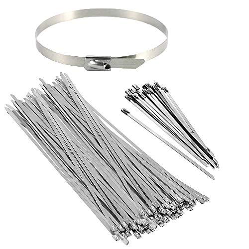 JUN-H 50 Stück Edelstahl Kabelbinder Metallkabelbinder Kabelbinder Stahlband Edelstahl Hitzeschutzband Auspuffband 4.6x150mm und 4.6x300mm.