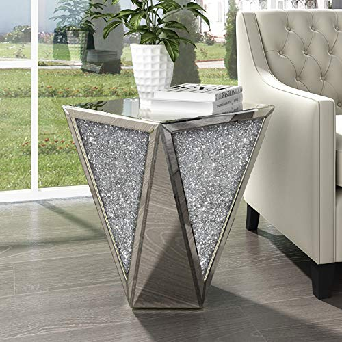 Mirrored End Table Living Room, Diamond Setting Side Table Pedestal Stand for Bed, Sofa, Corner, Hallway