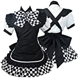 HXMCOS Cosplay Costume Lolita Nyaruko Maidservant Outfit Apron Maid Dress Party Halloween Carnival (Custom Made) Black
