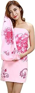 Dream バスタオル 着れるスタイル レディース バスワンピース ずり落ちない 肌触りがよい 吸水 速乾 便利 部屋着 70×140cm (ピンク)