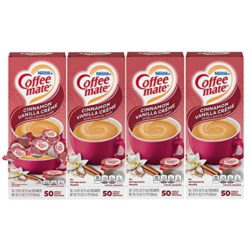 Nestle Coffee mate Coffee Creamer, Cinnamon Vanilla Creme, Liquid Creamer Singles, Non Dairy, No Refrigeration, Box of 50 Singles (Pack of 4)