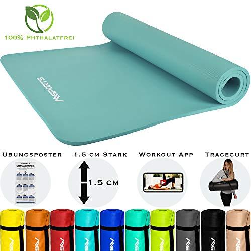 MSPORTS Gymnastikmatte Premium inkl. Tragegurt + Übungsposter + Workout App I Hautfreundliche Fitnessmatte 190 x 100 x 1,5 cm - Cyan - Phthalatfreie Yogamatte