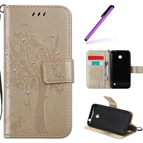 EMAXELERS Nokia Lumia 630 Hülle PU Lederhülle Bookstyle Handyhülle Flip Glitzer Asche Brieftasche Bumper mit Kartenfächer Wallet Tasche Etui für Nokia Lumia 630/635,Diamond Gold Wishing Tree