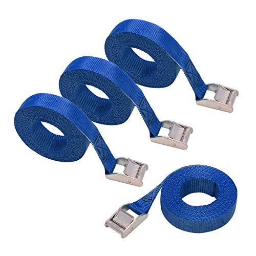 Amazon Basics - Cinghie di fissaggio, lunghezza 2.5 m, larghezza 25 mm, capacità di carico 150 kg, conformi a DIN EN 12195-2, colore blu (confezione da 4)