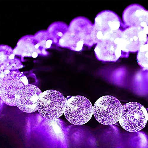 WH Decorativo Catena Luminosa Solare Strisce LED da Esterno - Luminarie Colorate A Globo Impermeabili Fino, 30 LED,Purple