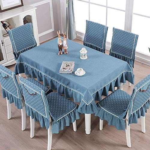 WEM Mantel rectangular de algodón y lino con funda para silla de comedor extraíble y lavable, color azul, mantel de 130 x 180 cm
