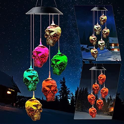 Campanas de viento exterior, DEECOZY Halloween, carillones solares con cabeza de calavera que cambian de color, adornos solares de jardín, campanillas de viento LED impermeables para jardín, patio