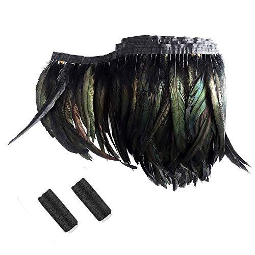 SwirlColor Plumas Negras Boa Adornos de Costura Plumas Artificiales Negro con 2 Hilos de Coser...