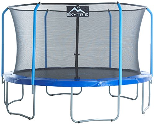 Skytric 13ft Large Trampoline Set With Top Ring Enclosure System, Safety Net, Jumping Mat, Spring Cover Pad For Indoor Garden and Outdoor - Easy Assemble