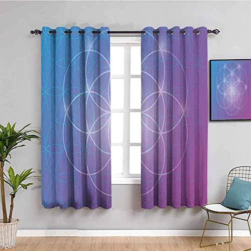 ZLYYH visillos para Salon Púrpura geometría círculo Flor WxH:117x138cm(58x138cm x2 Paneles) 3D para Cortina de Sala de Estar, Cortinas Opacas con Aislamiento térmico, Cortinas Decorativas para ventan