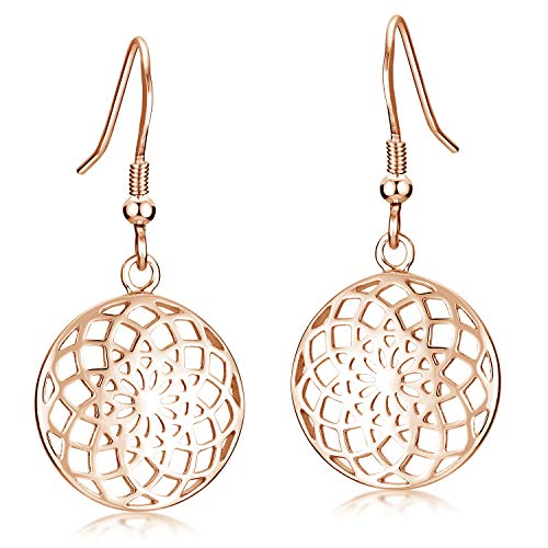 MATERIA Ohrhänger Rosegold Damen rund - 925 Silber Ohrringe Blume Mandala SO-451-Rose