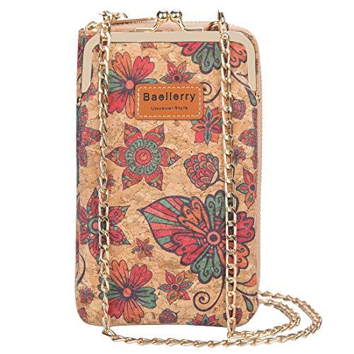 Aolaso - Bolso bandolera de corcho para mujer, con tarjetero, correa para el hombro, monedero cruzado para iPhone 7/8/11/12/X Plus