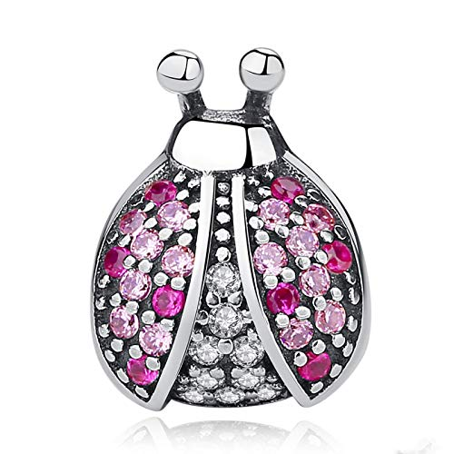 LILIANG Charm Jewelry 925 Sterling Silver Ladybird Bead Pink Insect Ladybug Charms Fit Pulseras Originales Brazaletes DIY Joyería Auténtica