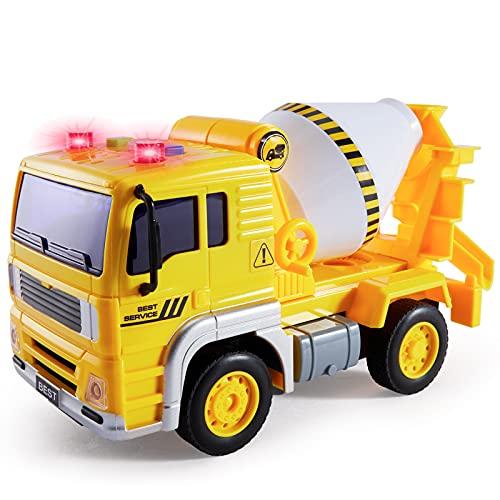 BUYGER Camion Hormigonera Juguete para Niños, Coche Juguete Grande con Luces y Sonido, Vehículo de Construcciones Regalo