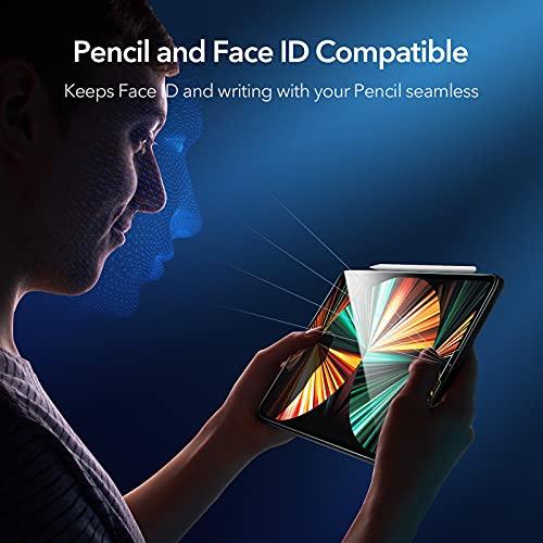 ESRガラスフィルムiPadPro12.9(2021/2020/2018)用保護フィルム硬度9H強化ガラスフィルムスクラッ飛散と気泡防止ガイド枠付き2枚入り